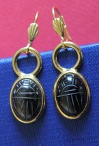 1950 Period Vintage Onyx Scarab Gold Filled Earrings Unusual & Charming - $64.35