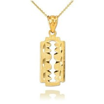 10K Solid Yellow Real Gold Razor Blade Pendant Necklace Barber Shop - $79.10+