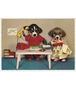 Vintage Postcard Dressed Dogs Unused Kruger Card Office Toy Telephone - $9.89