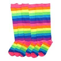 Angelina 12 Pair Dozen Girls Kids Toddler Knee High Socks Rainbow Striped 2540A