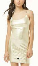 Forever 21 Shiny Liquid Gold Metallic Cami Mini Dress M NEW image 3