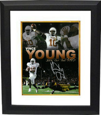 Primary image for Vince Young signed Texas Longhorns 8x10 Photo Custom Framed (Rose Bowl Collage)