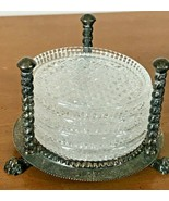 F.B. Rogers Silver Plated Coaster Set with 5 Leaded Crystal Coasters  - $29.99
