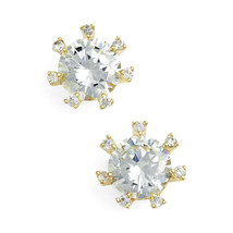 CZ Kenneth Jay Lane Gold Tone Framed 4 Cttw Round Gold CZ Stud Earrings ... - $44.06