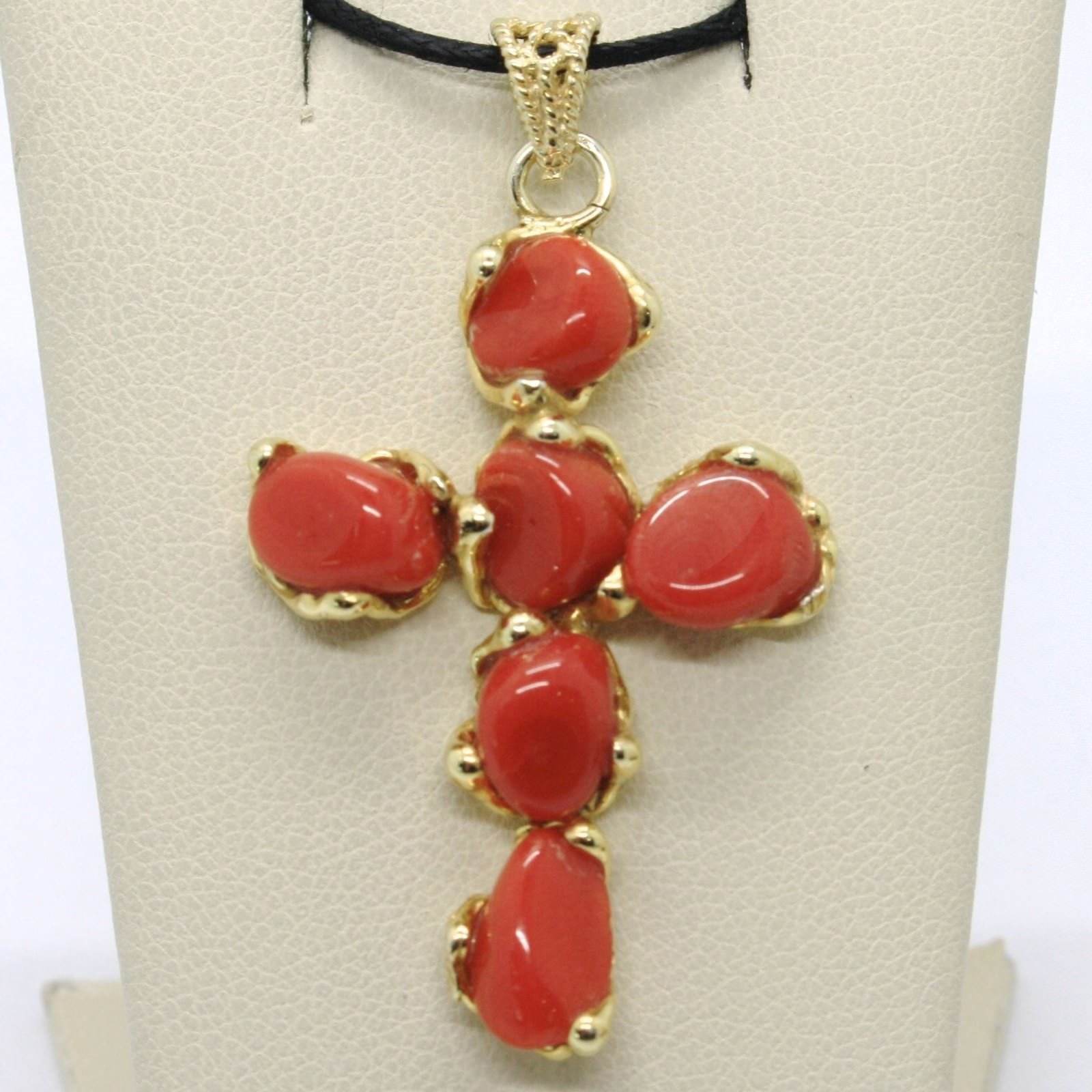 925 STERLING YELLOW SILVER CROSS PENDANT NATURAL RED CORAL NUGGETS ITALY MADE