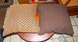 Pair of Brown Gold Diamond Print Throw Pillows  20 x 20 - $59.95
