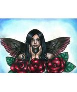 Angel woman red roses original art drawing flowers black wings hair make... - $19.99
