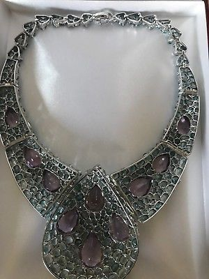 New Custom Huge 500+ct Natural Amethyst Zircon Silver SS necklace + Ring 16.5 in
