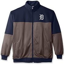 MLB Detroit Tigers Men's Poly Fleece Yoked Track Jacket Navy/Gray - $34.95