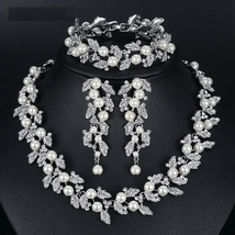 Simulated Pearl Silver Gold Color Necklace Earrings Bracelet Wedding Jew... - $29.99