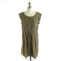L - Hei Hei Anthropologie Olive Brown Smocked Waist Cotton Cargo Dress 0000MB - $34.00
