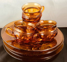 """Indiana Glass Amber Tiara 4 Plates w Cups 4 Each 10""""  Total 8 Pieces - $48.51"""