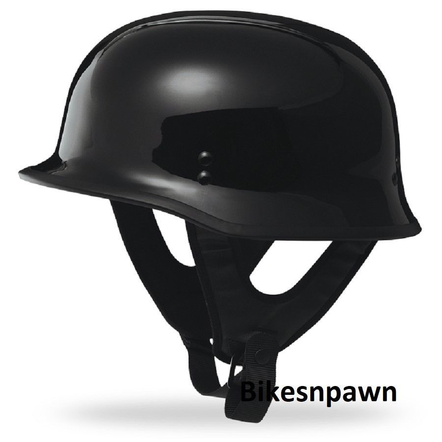 New 2XL Gloss Black Fly Racing DOT Approved German STyle Motorcycle Helmet