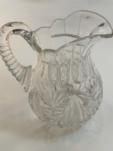 Signed Hoare Pitcher American Brilliant Period Cut Glass Antique - $129.62