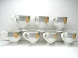7 VTG Sangostone Chanson 3669 Footed Tea Coffee Cup White Peach Iris Flo... - $29.37