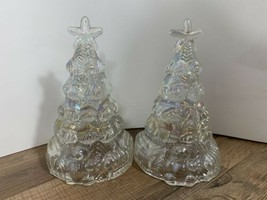 """VTG 6"""" IRIDESCENT CLEAR CARNIVAL HOLLOW GLASS CHRISTMAS TREE- SET OF 2 - $29.69"""