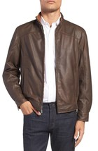 Vintage High Neck Collar Men's Genuine Leather Jacket Slim fit Biker jacket