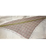 Vintage Light Weight Floral Pattern On Ivory Fringe INDIAN Kerchief NEW WOT - $2.99