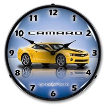 """Collectable Sign and Clock GMRE1108335 Rally Yellow 14"""" Camaro G5 Lighte... - $129.95"""