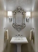 Ornate Antique Venetian Frameless Wall Mirror Vanity Bathroom Foyer New - $309.01
