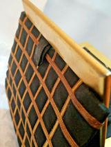 Vintage Black w/ Gold Square Design Evening Clutch Purse W/ Original Mirror image 5