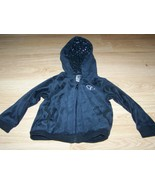 Size 24 Months Faded Glory Black Velour Zip Up Hoodie Jacket Silver Hear... - $12.00