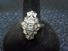 Antique ca 1920s Art Deco Platinum & Diamond Ring, Size 9 1/2, 5g - $2,048.41