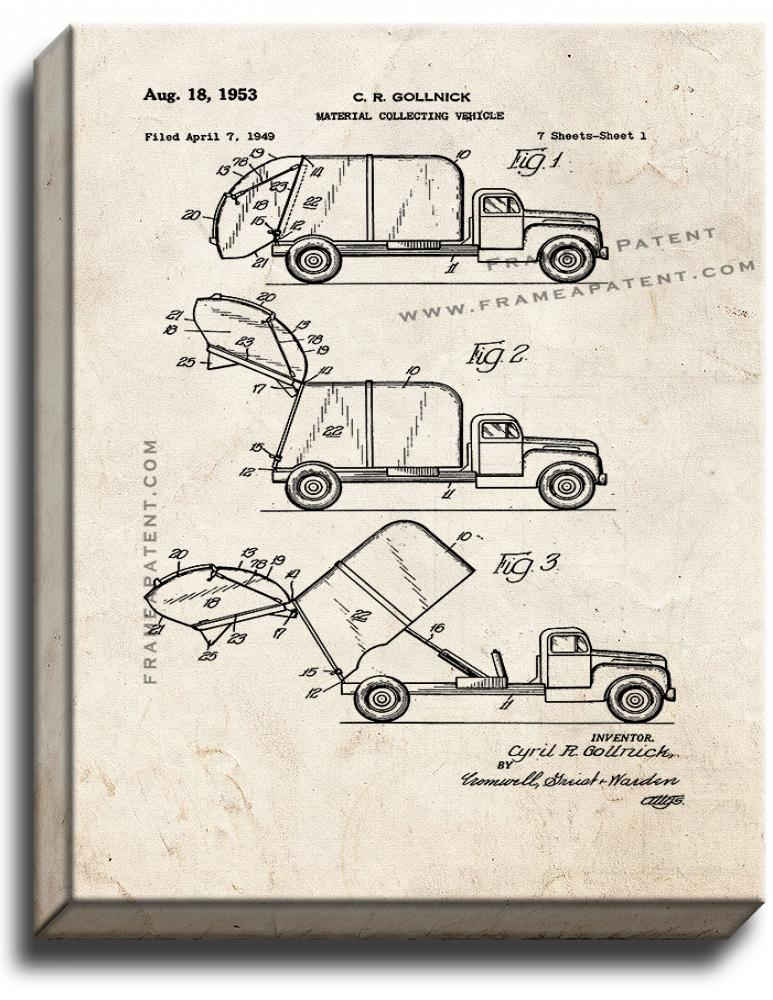 Primary image for Garbage Truck Patent Print Old Look on Canvas