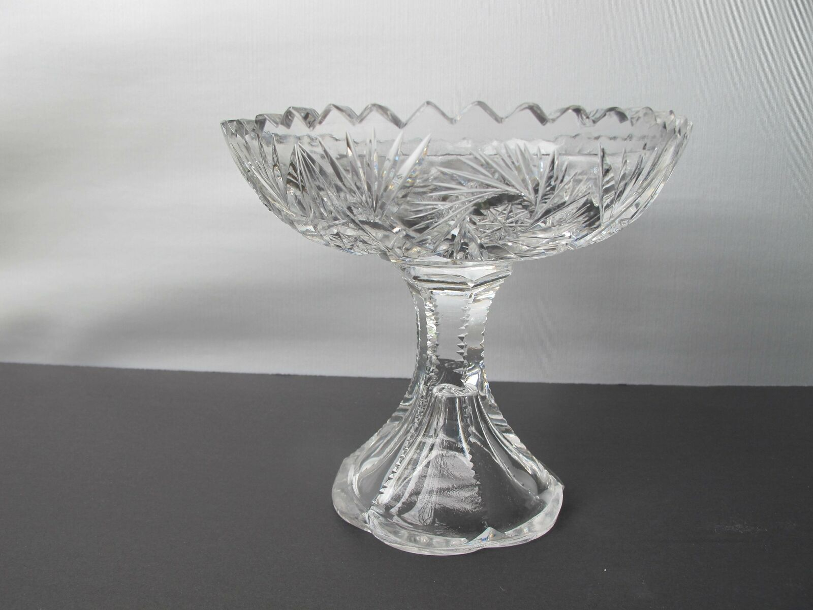 American Brilliant Period Cut Glass compote, divided Antique - $54.82