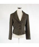 Brown black uneven striped 100% linen ANTONIO MELANI blazer jacket 10 - $24.99