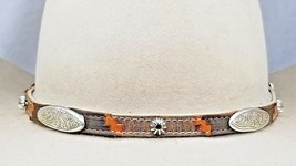 Southwest HATBAND Black, Brown+Tan LEATHER with Silver CONCHOS & Buckle ... - €29,67 EUR