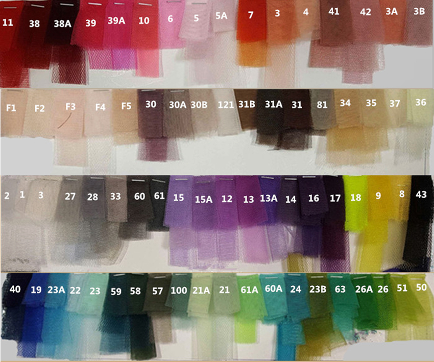 Tulle TUTU Color chart Catelogue Color Demo - from Dressromantic