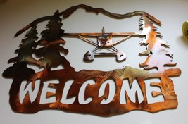 Airplane Welcome Metal Wall Art Decor by HGMW - $28.70