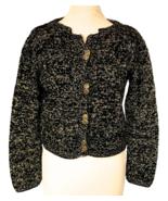 70s Golden Lurex Metallic Thread Black Knit Cropped Steampunk Sweater Ca... - $32.00