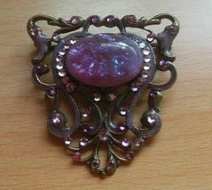 Signed Anne Koplik Designs Purple Rhinestone Brooch - $24.99