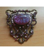 Signed Anne Koplik Designs Purple Rhinestone Brooch - $24.99