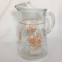 Vintage Glass Pitcher With Peach Orange Flower Design Water Ice Tea Floral - $24.21