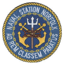 """4.5"""" NAVY NORFOLK NAVAL STATION AD REM CLASSEM PARATUS EMBROIDERED PATCH - $23.74"""