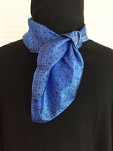 Vintage 60s Vera Neumann square silk scarf (Blue and white geometric)