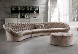 Soflex Miami Luxurious Ultra Modern Beige Fabric Crystals Tufted Sectional Sofa