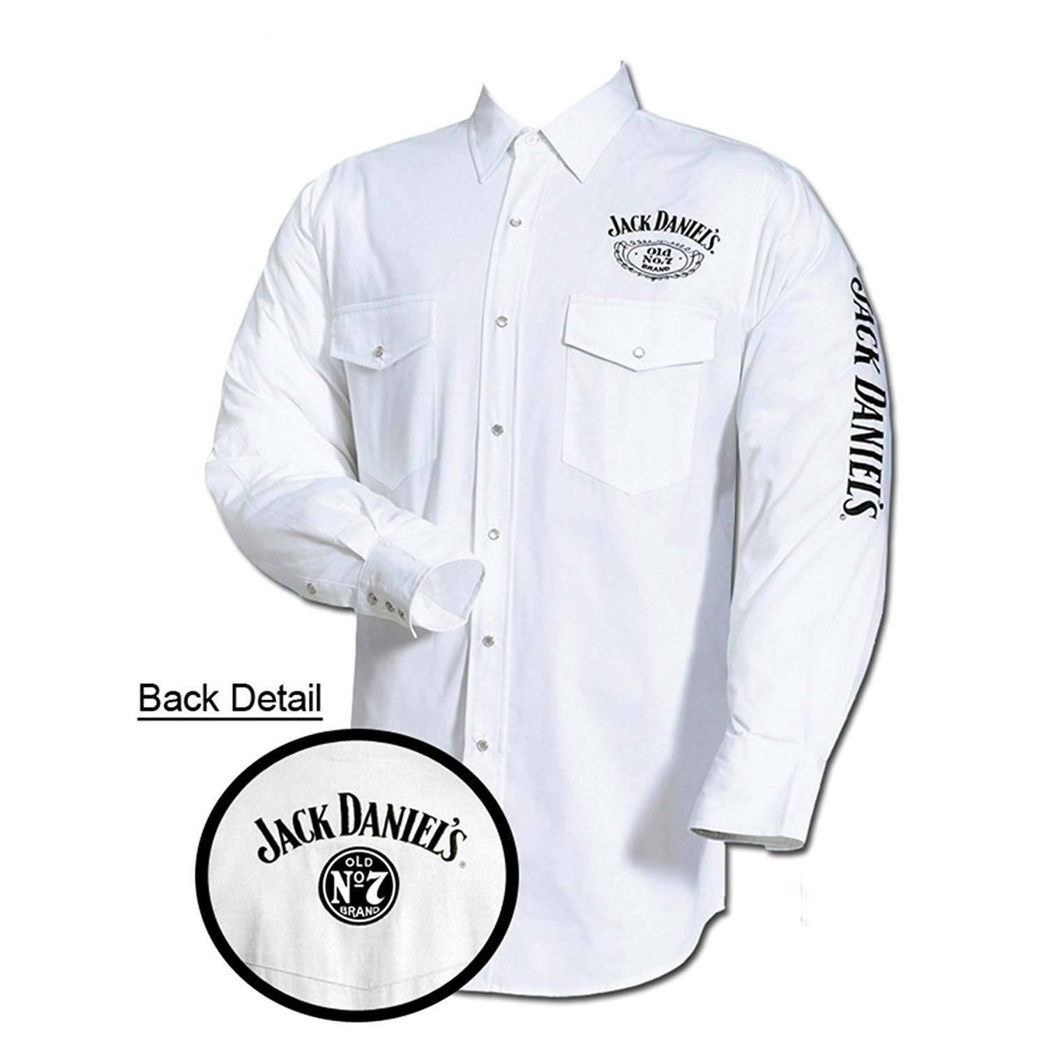 Primary image for Jack Daniel's Embroidered Long Sleeve Mens Button Down Western Shirt White