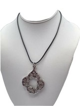 "Chico's Silver Tone Necklace Pendant Statement Black Leather Chord 14-17"" - $12.16"