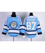 Number 87 Sidney Crosby Jerseys Pittsburgh Penguins light blue t shirts - £30.61 GBP
