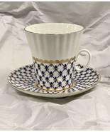 Russian Imperial Lomonosov Porcelain Bone Coffee cup and saucer Cobalt Net - $74.24