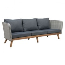 Retro Style Outdoor Sofa Charcoal Gray Wicker Acacia Wood Water Resistan... - $1,336.50