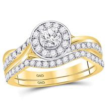 14kt Yellow Gold Round Diamond Bridal Wedding Engagement Ring Band Set 1.00 Ctw - $1,598.00