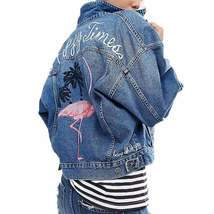 Oversized Embroidery Denim Jackets For Women - $57.48