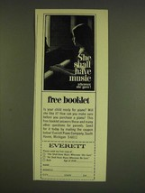1966 Everett Piano Ad - She shall have music wherever she goes! - $14.99