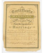 ANTIQUE 1893 MARRIAGE CERTIFICATE HOFFMAN SCOFIELD COLD SPRING NEW JERSE... - $62.99
