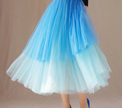 Blue Layered Tulle Skirt Blue Puffy Tulle Skirt Plus Size image 3